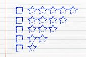 picture of performance evaluation  - star chart to evaluate a performance give feedback - JPG