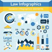 image of tribunal  - Law and justice business infographics layout design template with police judge court lawyer icons vector illustration - JPG