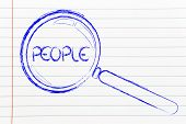 Focusing On People Or Human Capital, Magnifying Glass Design