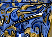 foto of asymmetrical  - abstract asymmetrical pattern in blue and brown color - JPG