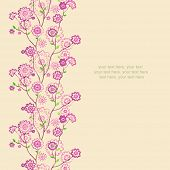 Watercolor vertical seamless pattern border with spring cherry blossoms.