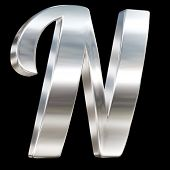Letter N from chrome solid alphabet isolated on black