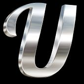 Letter U from chrome solid alphabet isolated on black