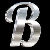Letter B from chrome solid alphabet isolated on black