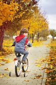 boy riding a bicycle in autumn park