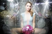 Beautiful Sexy Disco Dj Woman In Lingerie Surrounded By Discoballs