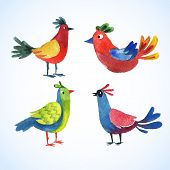 doodle vector watercolor bird set