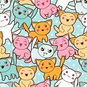 stock photo of kawaii  - Seamless kawaii cartoon pattern with cute cats - JPG