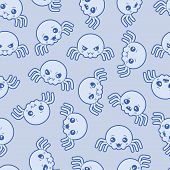 Seamless kawaii cartoon pattern with cute spiders.