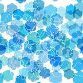 Seamless pattern with abstract blue flowers.