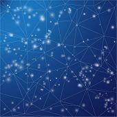 Triangle background. Deep sky view. Night stars on dark blue background. Web, mobile, websites design backdrop.
