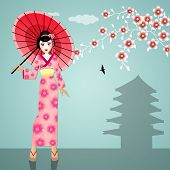 image of geisha  - An illustration of a Geisha with kimono and umbrella - JPG