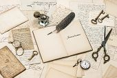 Open Diary Notebook, Old Letters And Postcards