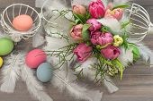 Tulip Flowers With Easter Eggs. Vintage Decoration
