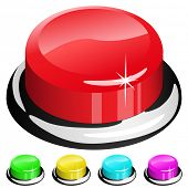 Illustration of 3D red button isolated on white with four color samples.