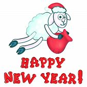 greeting card with New Year's sheeps