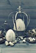 Easter Decoration With Eggs, Nest And Birdcage