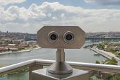 Binoculars On Viewing Platform Overlooking River