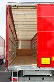stock photo of lorries  - Rear view of empty semi truck lorry - JPG