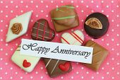 Happy Anniversary card with selection of chocolates