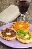 Mini Quiches And Red Wine