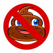 stock photo of defecate  - Prohibition sign with a funny cartoon poo - JPG