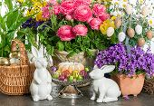 Easter Cake, Spring Flowers, Eggs And Bunny