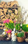 Easter Decoration With Bunny, Eggs And Flowers