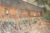 image of longhouse  - Hand drawn of live people in rural area of Borneo - JPG