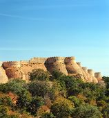 wall of kumbhalgarh fort - rajasthan india