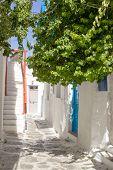 Traditional Street Of The Greek Island Mykonos In Greece