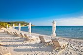 Sani sand beach on Kassandra peninsula, Halkidiki,  Greece.
