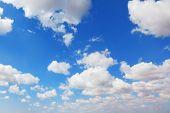White light cumulus clouds in a high blue sky