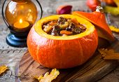 stock photo of stew  - Beef stew with vegetables  in pumpkin - JPG