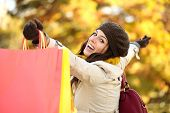 Blissful Woman Shopping And Having Fun In Autumn