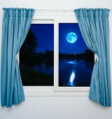 Window View Of The Full Moon
