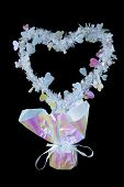 picture of centerpiece  - A heart centerpiece against a black background - JPG