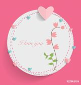 Cute card with heart and floral bouquets, vector illustration.