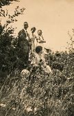 GERMANY, CIRCA FORTIES - Vintage photo of family outdoor
