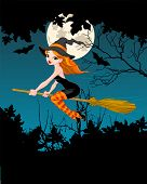 Halloween Witch flying on broom banner. Raster version.