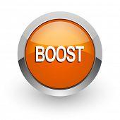 boost orange glossy web icon