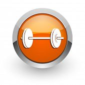 fitness orange glossy web icon