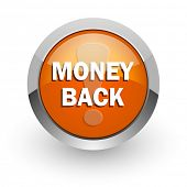 money back orange glossy web icon