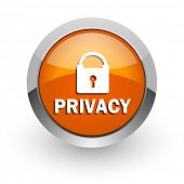 privacy orange glossy web icon