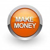 make money orange glossy web icon