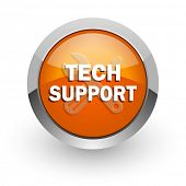 technical support orange glossy web icon