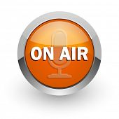 on air orange glossy web icon