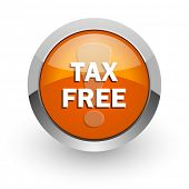 tax free orange glossy web icon