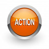 action orange glossy web icon