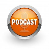 podcast orange glossy web icon